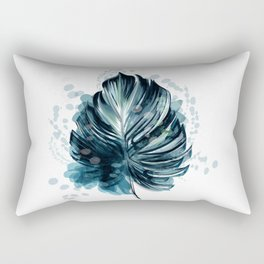 Monstera vector palm leaf with ink spots in watercolor style, tropical illustration Rectangular Pillow