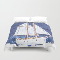 sailboat Duvet Covers featuring Sailboat by Michael Moriarty Photography