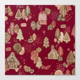 Hansel and Gretel Fairy Tale Gingerbread Pattern Canvas Print