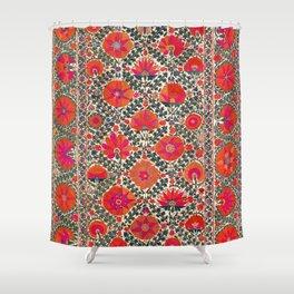 Kermina Suzani Uzbekistan Colorful Embroidery Print Shower Curtain