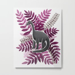 Dinosaur & Leaves - Pink Metal Print