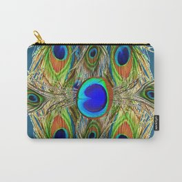 BLUE-GREEN PEACOCK EYE  FEATHERS BLUISH DESIGN Carry-All Pouch