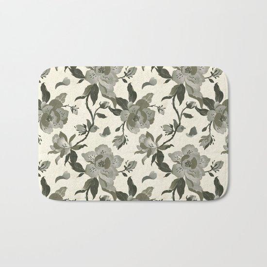 Black Magnolia Pattern Bath Mat