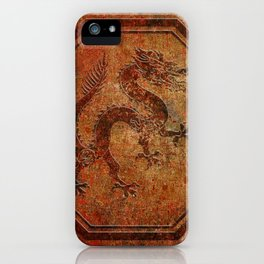 Distressed Chinese Dragon In Octagon Frame iPhone Case