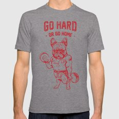 GO HARD OR GO HOME FRENCHIE Tri-Grey LARGE Mens Fitted Tee