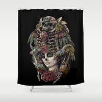 guardians Shower Curtains featuring Day of the Dead (Ancient Guardians) by Jorge Garza