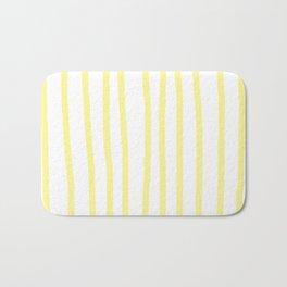 Simply Drawn Vertical Stripes in Pastel Yellow Bath Mat