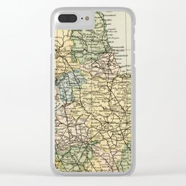 North England and Wales Vintage Map Clear iPhone Case