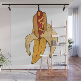 Banane fruit peeling hot dog fastfood kids funny gift idea Wall Mural