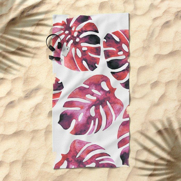 Monstera Red Beach Towel