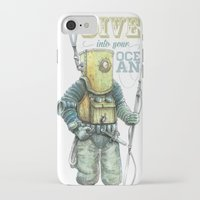 diver iPhone & iPod Cases featuring Diver by pakowacz
