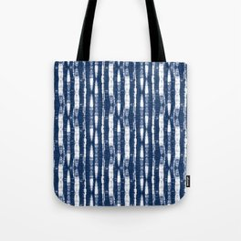 Shibori Stripes Indigo Blue Tote Bag