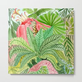 Leaves, Jungle, Snake Metal Print