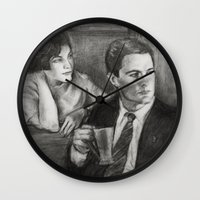 dale cooper Wall Clocks featuring TWIN PEAKS - COOPER AND AUDREY by William Wong