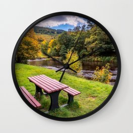 Snowdonia River Autumn Wall Clock