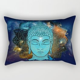 Blue Face of Buddha in the Galaxy Rectangular Pillow