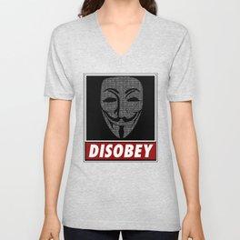Binairy Vendetta: Disobey Unisex V-Neck