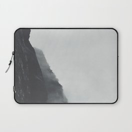 Black And White Misty Cliff Photography Mystery Foggy Landscape Laptop Sleeve