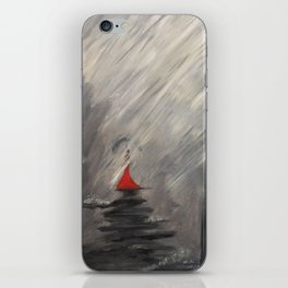 Lady in red - Rainy day iPhone Skin