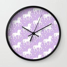 Purple Unicorn and Stars Pattern Wall Clock