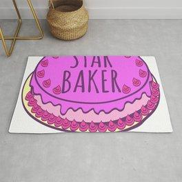 Star Baker Baking Design For Bakers T-shirt Design Fork Knife Cherry Icing Cake Dessert Buttons Rug