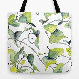 Blue and Green Vines, Pattern Tote Bag