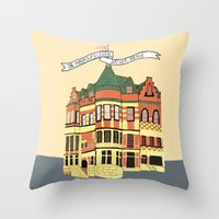 archer Throw Pillows featuring Archer Ave. by andjburke