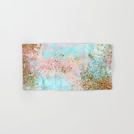 Pink and Gold Mermaid Sea Foam Glitter Hand & Bath Towel