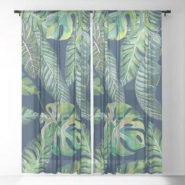 Jungle Leaves, Banana, Monstera, Blue Sheer Curtain