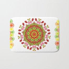 Zest For life Yellow Red Orange Green Floral Mandala Design Bath Mat