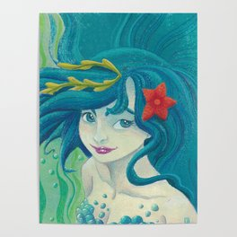 Teal Mermaid Poster