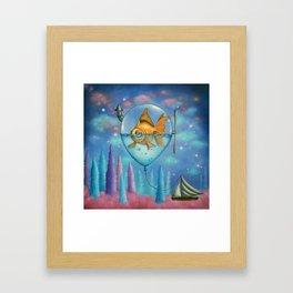 Goldfish in balloon Framed Art Print