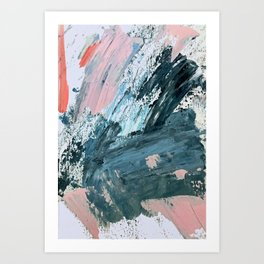 Wilmington: a colorful abstract acrylic piece in pinks and blues Art Print