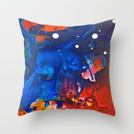 Humo, Vibrant wet on wet abstract, NYC artist Throw Pillow