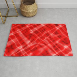 Pastel metal mesh with red intersecting diagonal lines and stripes. Rug
