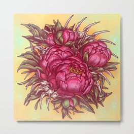 Peonies and bones Metal Print
