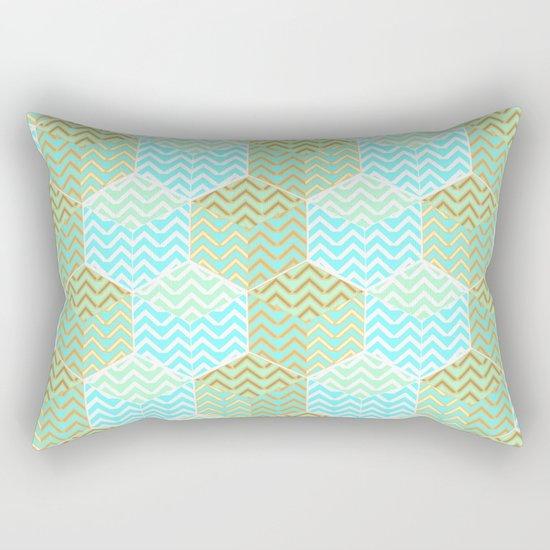 Cubes in teal and golden chevron Rectangular Pillow