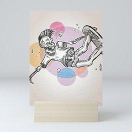 skeleton skater  on abstract retro background Mini Art Print