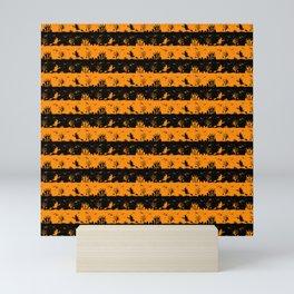 Light Pumpkin Orange and Black Halloween Nightmare Stripes Mini Art Print