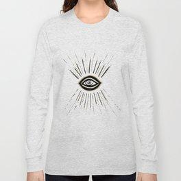 Evil Eye Gold Black on White #1 #drawing #decor #art #society6 Long Sleeve T-shirt