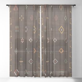 Brown Bohemian Traditional Moroccan Vintage Artwork (N25) Sheer Curtain