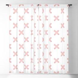 Cross Brush Pattern Hand Drawn Graphic Artwork Rose Quartz Love Blackout Curtain