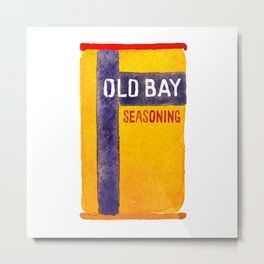 Old Bay Tin Baltimore Crab Watercolor Metal Print