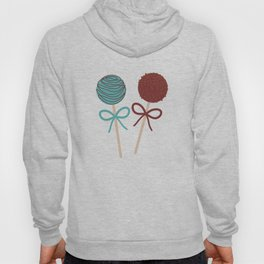 seamless pattern Colorful Sweet Cake pops set with bow on white polka dot background Hoody