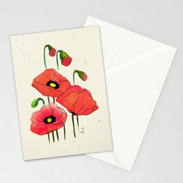 Red Watercolor Poppies Stationery Cards