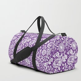 "William Morris Floral Pattern | ""Pink and Rose"" in Purple and White Duffle Bag"