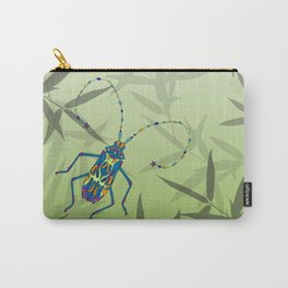 Insect Bamboo leaves Green Unique Pattern Carry-All Pouch