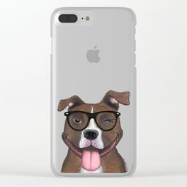 Hipster Pit Bull Clear iPhone Case