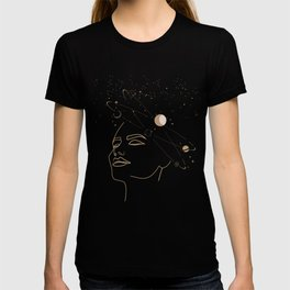 Mystic 94 Mind In Space Golden Line Drawings Minimal Minimalist Outer Space Solar Systems Star Astrology Astronomy Abstract Design Black Bohemian Style T-shirt