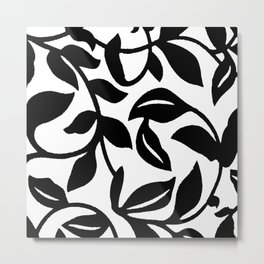 LEAF AND VINE SWIRL IN BLACK AND WHITE PATTERN Metal Print